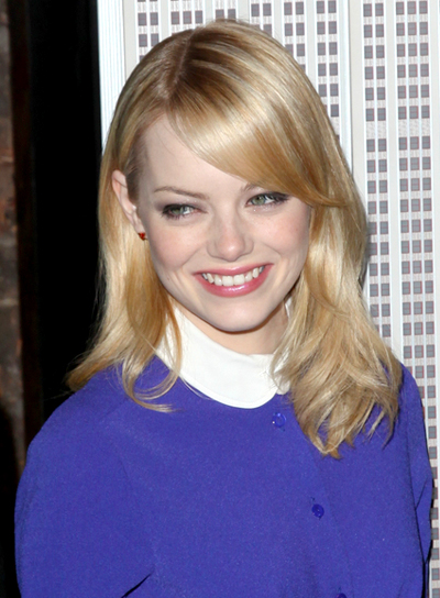 Emma Stone's Medium, Sophisticated, Blonde Hairstyle with Bangs