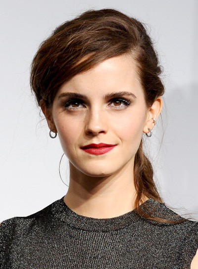 Emma Watson Brunette, Tousled, Sexy, Ponytail Hairstyle