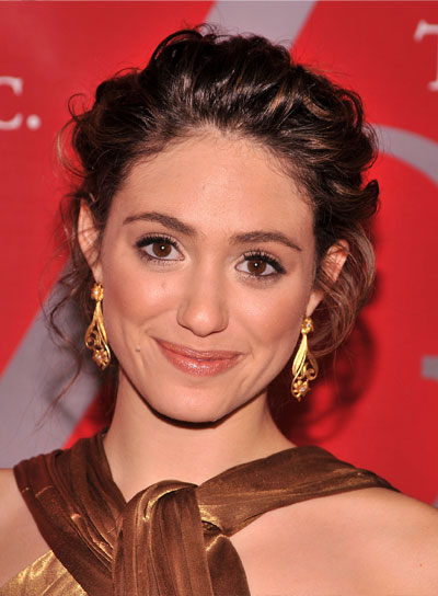 Emmy Rossum Romantic, Curly, Brunette Updo