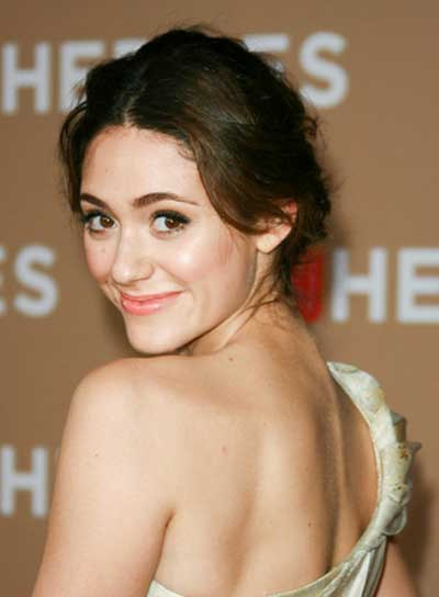Emmy Rossum Sophisticated, Tousled, Brunette Updo