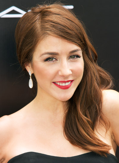 Erin Karpluk's Long, Red, Wavy, Romantic Half Updo Hairstyle