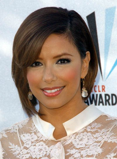 Eva Longoria Straight Bob with Sideswept Bangs