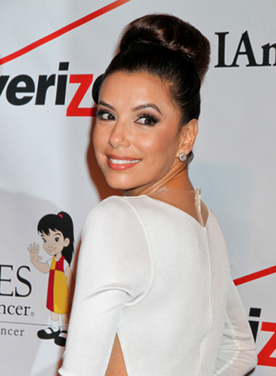 Eva Longoria's Chic, Brunette, Party, Updo Hairstyle