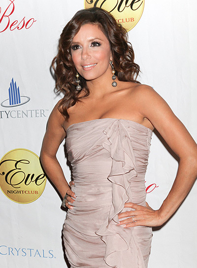 Eva Longoria Curly, Romantic, Brunette Hairstyle