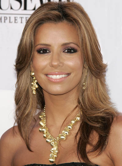 Eva Longoria Brunette, Wavy Hairstyle with Highlights