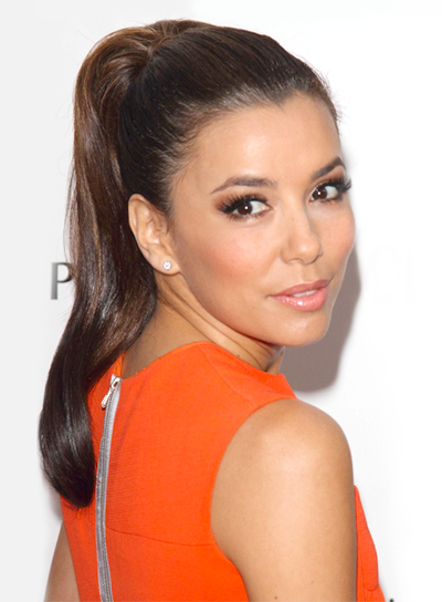 Eva Longoria's Long, Brunette, Party, Ponytail Hairstyle