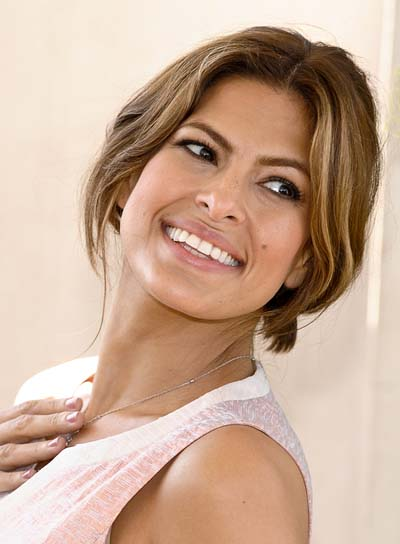 Eva Mendes Tousled Updo with Highlights