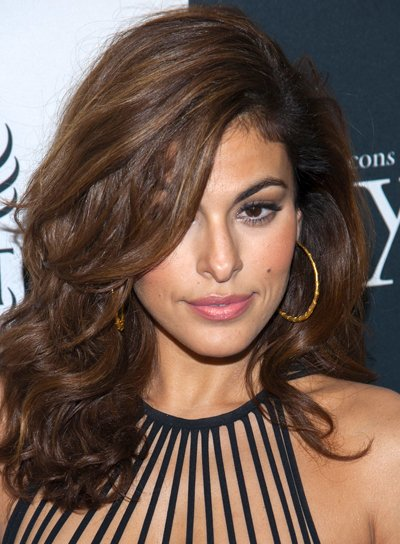 Eva Mendes' Long, Curly, Brunette, Sexy Hairstyle
