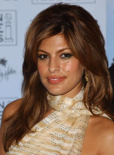 Eva Mendes Long, Tousled Hairstyle with Layers