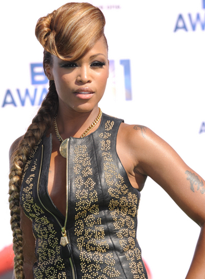 Eve Long, Funky, Edgy, Blonde Hairstyle with Bangs and Braids and Twists