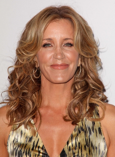 Felicity Huffman Long, Curly, Sophisticated, Blonde Hairstyle