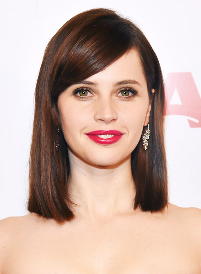 Felicity Jones with a Straight, Sophisticated, Medium, Brown Hairstyle Pictures