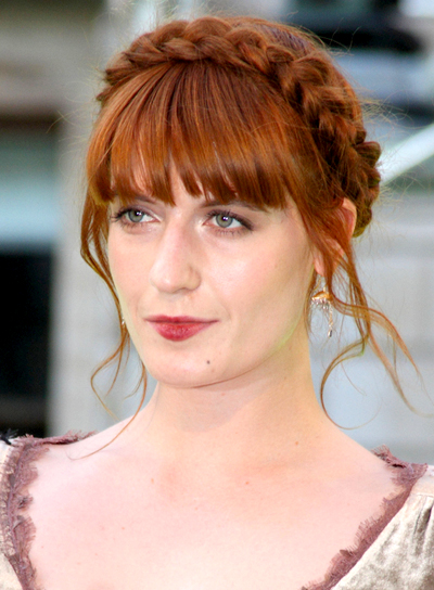 Florence Welch's Red, Updo Hairstyle with Braids and Twists and Bangs