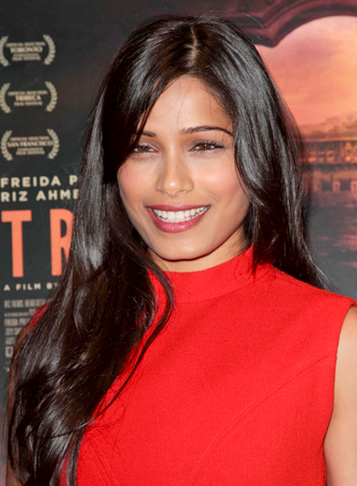 Freida Pinto's Long, Romantic, Brunette, Straight Hairstyle