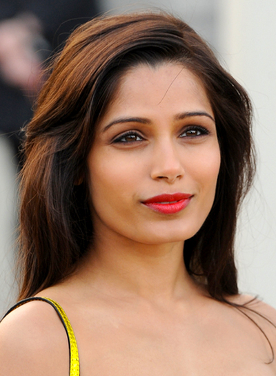 Freida Pinto's Long, Straight, Chic, Brunette Hairstyle