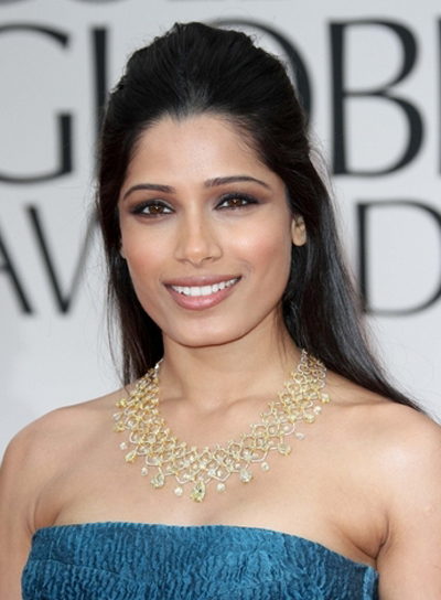 Frieda Pinto Long, Straight, Black Half Updo
