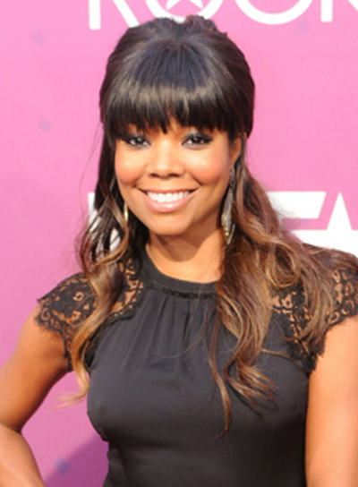 Gabrielle Union's Long, Wavy, Half Updo Hairstyle with Bangs