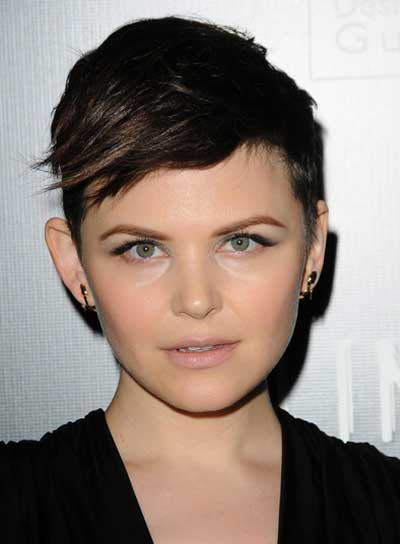 Ginnifer Goodwin Short, Edgy, Brunette Hairstyle