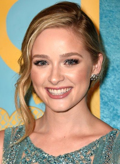 Greer Grammer with a Long, Blonde, Tousled, Updo Hairstyle Pictures
