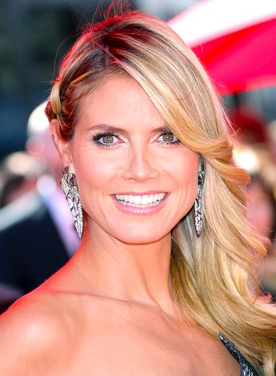 Heidi Klum's Long, Blonde, Layered, Party Hairstyle with Braids and Twists