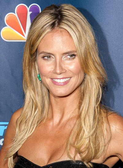 Heidi Klum's Long, Blonde, Layered, Party Hairstyle