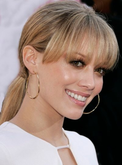 Hilary Duff Straight Ponytail with Bangs