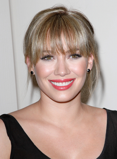 Hilary Duff Romantic, Sophisticated, Blonde, Prom Updo with Bangs