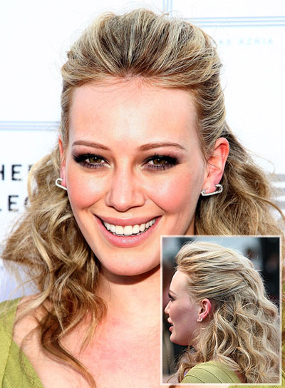 Hilary Duff Curly Half Updo for Prom