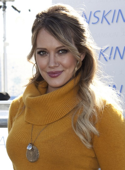 Hilary Duff Wavy, Romantic, Blonde Half Updo