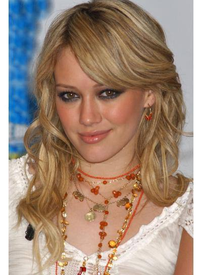 Hilary Duff Long, Curly Hairstyle with Bangs
