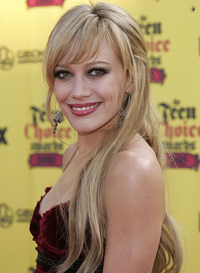 Hilary Duff Long, Blonde Half Updo
