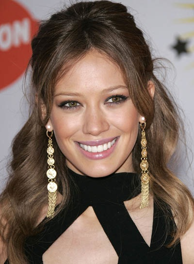 Hilary Duff Brunette, Wavy Half Updo for Medium-Length Hair