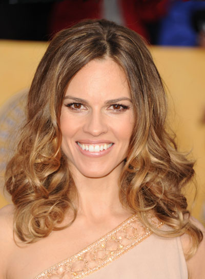 Hilary Swank Medium, Romantic, Curly, Brunette Hairstyle
