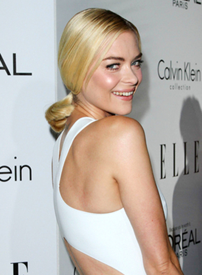 Jaime King's Medium, Blonde, Chic, Ponytail Hairstyle