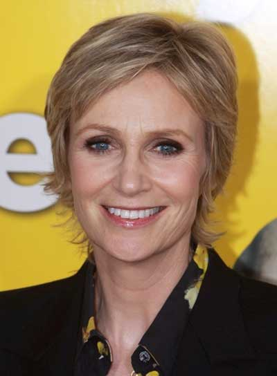 Jane Lynch Short, Layered, Straight, Blonde Hairstyle with Highlights
