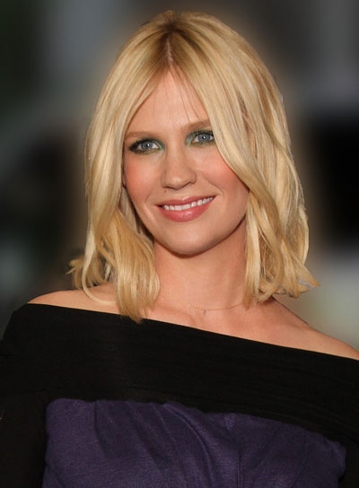 January Jones Medium, Wavy, Tousled, Blonde Bob