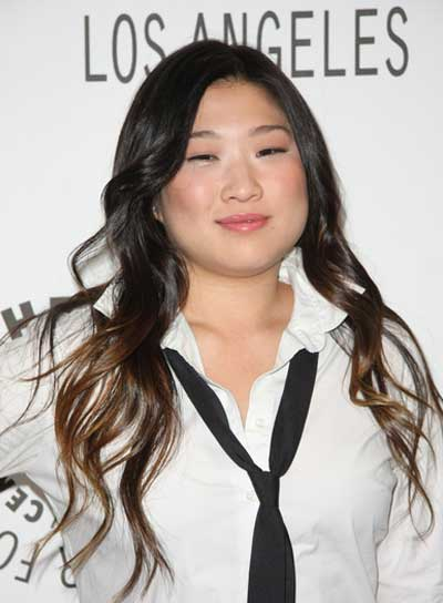 Jenna Ushkowitz Long, Wavy, Black Hairstyle with Highlights