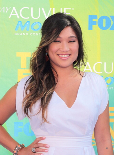 Jenna Ushkowitz Long, Wavy, Romantic, Black Hairstyle with Highlights