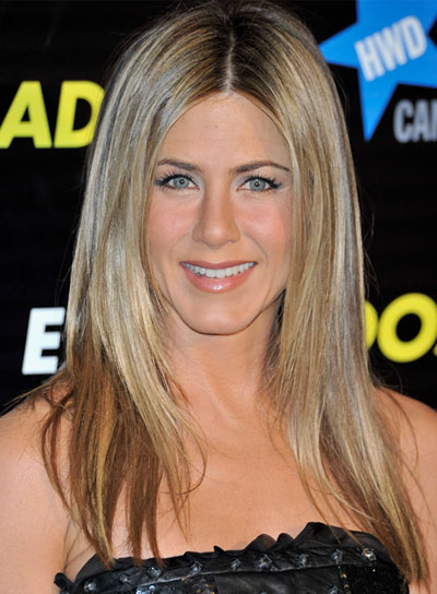 Jennifer Aniston Medium, Straight, Blonde Hairstyle