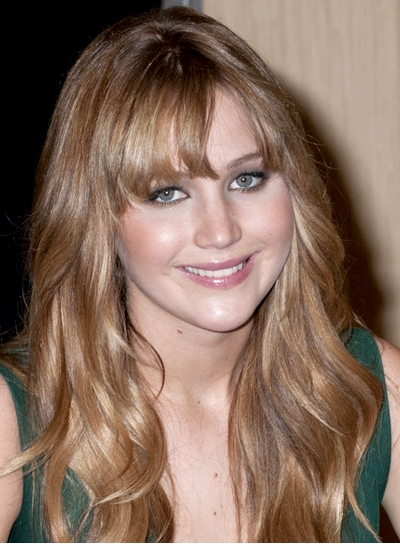Jennifer Lawrence Long, Tousled, Wavy, Brunette Hairstyle with Bangs and Highlights