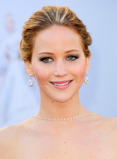 Jennifer Lawrence's Brunette, Chic, Romantic, Updo Hairstyle