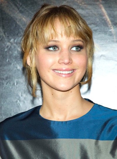 Jennifer Lawrence's Chic, Wavy, Updo Hairstyle with Bangs