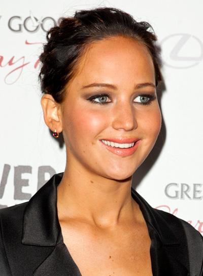 Jennifer Lawrence's Wavy, Chic, Brunette, Updo, Hairstyle
