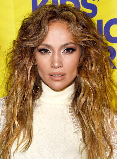 Jennifer Lopez with a Long, Brunette, Wavy, Romantic HairstylePictures