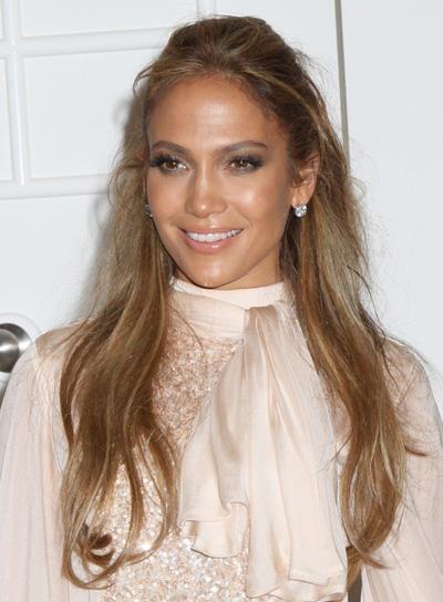 Jennifer Lopez Long, Tousled Half Updo