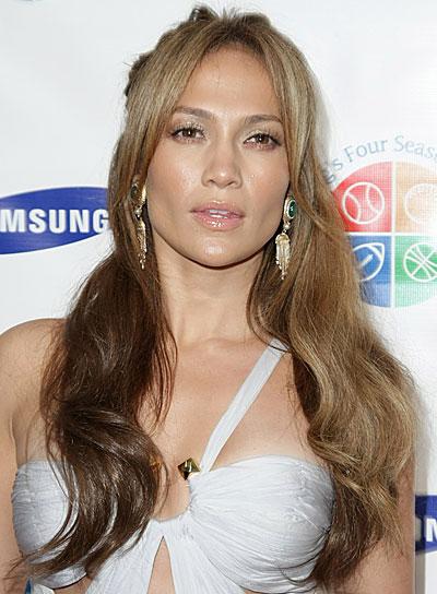 Jennifer Lopez Long, Wavy, Blonde Half Updo