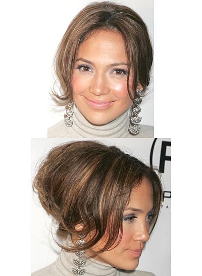 Jennifer Lopez Brunette, Chic Updo