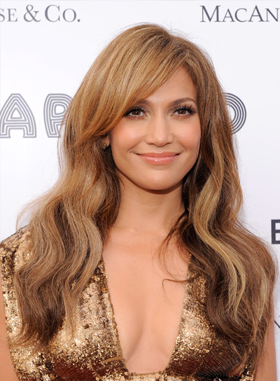 Jennifer Lopez Wavy, Romantic, Brunette Hairstyle