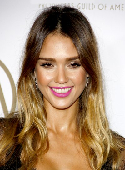 Jessica Alba's Edgy, Wavy, Tousled, Party Hairstyle