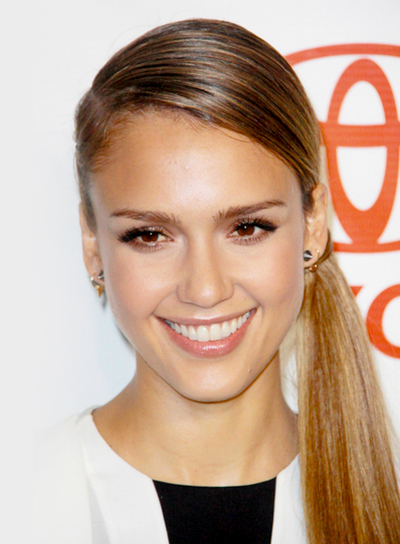 Jessica Alba's Chic, Long, Straight, Ponytail Hairstyle